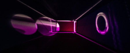 Abstract Light Painting Photography in bright pink and black.