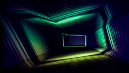 Abstract Light Painting Photography in green and blue.