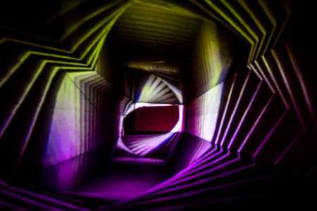 Abstract Light Painting Photography in purple and yellow. Stock Photo