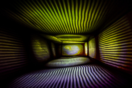 light painting: Abstract Light Painting Photography, purple and yellow lights in a box. Stock Photo