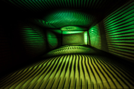 Abstract Light Painting Photography in green and yellow. Stock Photo