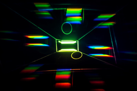 Light Painting with rainbow lights in a box - Abstract Photography.