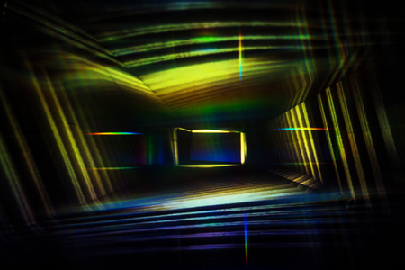 Abstract Light Painting Photography, yellow and blue lights in a box.