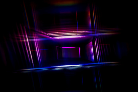 Light Painting with purple and blue lights in a box - Abstract Photography.