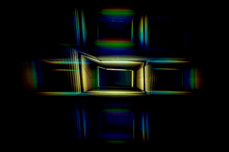 Abstract Light Painting Photography - Cross in rainbow colours.
