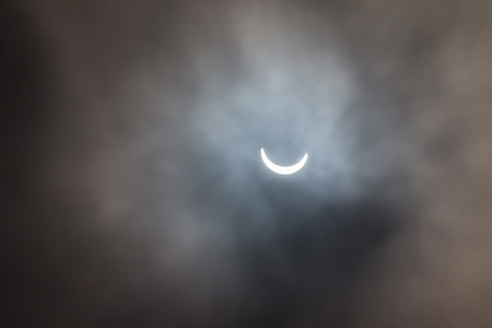Photo of the solar eclipse from Cambridgeshire in the UK on 20th March 2015 Stock Photo