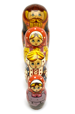 russian dolls: Russian dolls in a line small to large Stock Photo