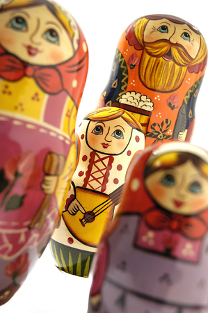 russian dolls: Russian dolls in a group with focus on one