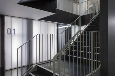 bannister: Stairs and partitioning in a contemporary office building