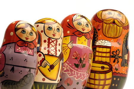 russian dolls: Family of Russian dolls in a line