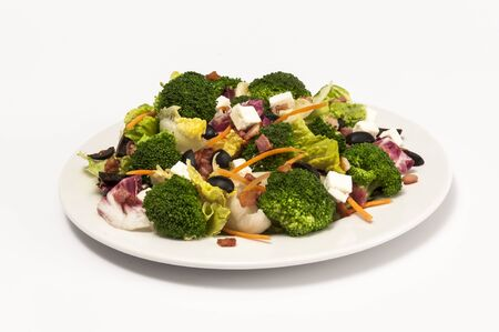brocoli: Brocoli and feta salad with no dressing isolated on white