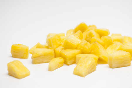 chunks: Pineapple chunks isolated on a white background