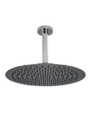 Chrome round shower head on white background. Ceiling mounted. Stock Photo