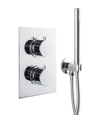chrome: Chrome shower with built-in controls. Stock Photo