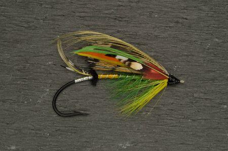 highlander: Tradicionalmente vestido Highlander Verde tiro mosca salmones contra un fondo de pizarra