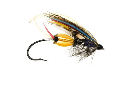 jock: Traditionally dressed Jock Scott salmon fly shot against a white background