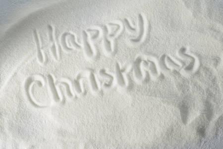 happy christmas: Happy Christmas drawn in snow