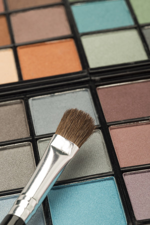 eyemakeup: Colourful eyeshadow palette with variety of beautiful colours and tones Stock Photo