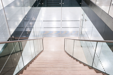 clean office: Looking down a modern flight of stairs