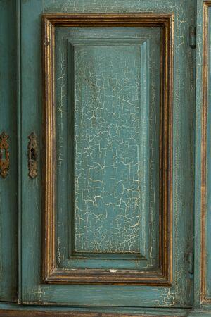 craquelure: Close up of a blue craquelure door