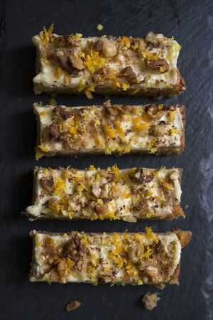 walnut cake: Carrot, Orange and Walnut cake slices shot from overhead