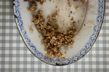 flapjacks: A close up of a vintage plate with the crumbs from flapjacks Stock Photo