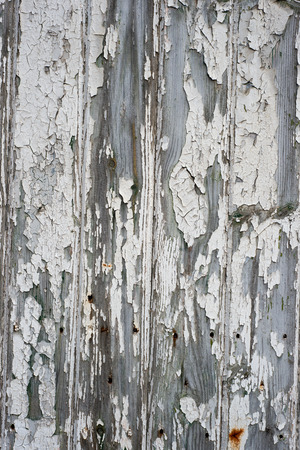portrait orientation: Aging wooden panel with chipped white paint in portrait orientation for abstract or backgrounds. Stock Photo