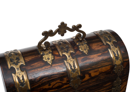 jewlery: Brass handle on the lid of a vintage wooden chest-type jewlery box.