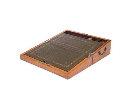concealed: Cut out of an opended antique wooden vanity box with its contents concealed. Stock Photo