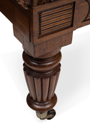 antique furniture: Cut-out of a wheeled wooden leg of an antique furniture.