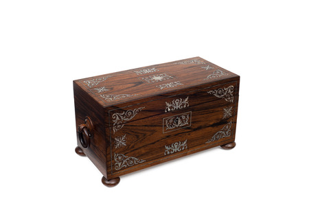 Cutout Of A Closed Antique Wooden Jewelry Box In Top View Stock