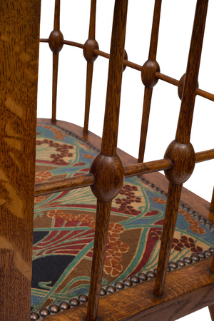 antique chair: Spindles of a backrest of an antique wooden dining chair.