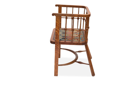 antique chair: A cut-out of an antique dining chair facing sideways.