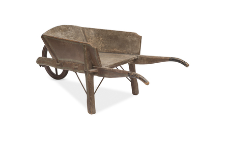old vintage: A cut-out of an antique wooden wheelbarrow viewed from the rear. Stock Photo