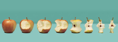 varying: A row of apples depicting varying stages of being eaten from whole apple to core