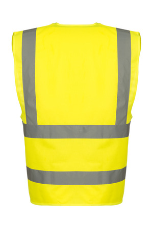 reflective: Rear of a yellow reflective safety vest.