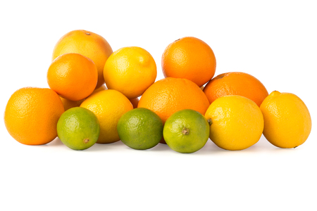 ascorbic acid: Cutout of a collection of citrus fruits including oranges, grapefruit, lemons, and lime.