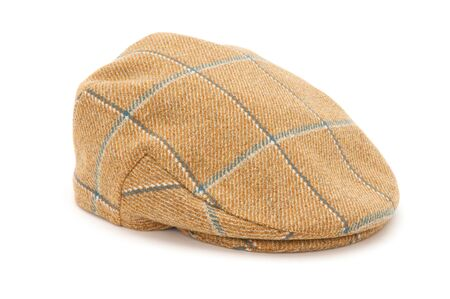 Cutout of a checked tweed hunting hat or flat cap.