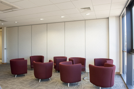seating: Breakout seating in a modern office