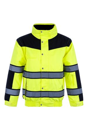 Front view of a high-visibility rain jacket