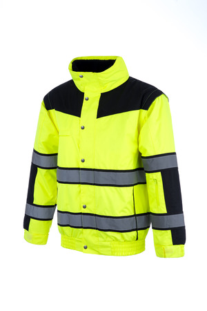 Angled view of a high-visibility rain jacket