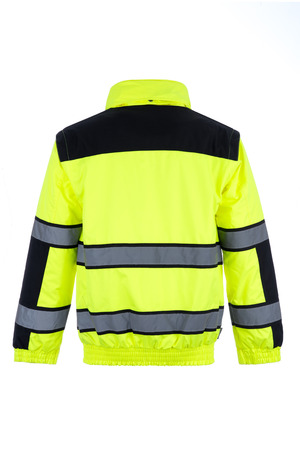 Rear view of a high-visibility rain jacket