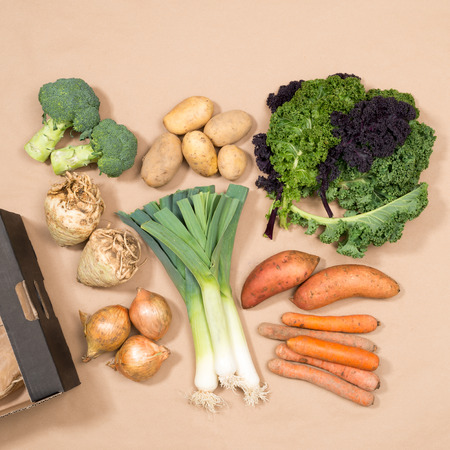 Square image of assorted vegetables including kale, leeks, carrots, onions, celeriac, broccoli, potatoes, sweet potatoes, and carrots plus a cardboard box