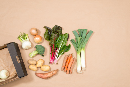 carboard box: A small assortment of fresh vegetables including leeks, chard, onions, potatoes, yam, fennel, broccoli, and carrots plus a carboard box with copy space.