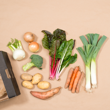 carboard box: Square image of a small assortment of fresh vegetables including leeks, chard, onions, potatoes, yam, fennel, broccoli, and carrots plus a carboard box.