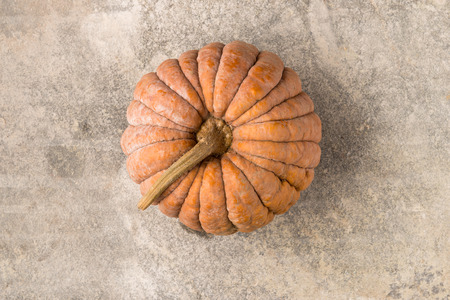 cinderella pumpkin: Top view of a cinderella squash on polished concrete surface