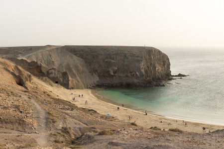 playa blanca: Landscape shot of the main Papagayo beach, Lanzarote from the top looking down with people