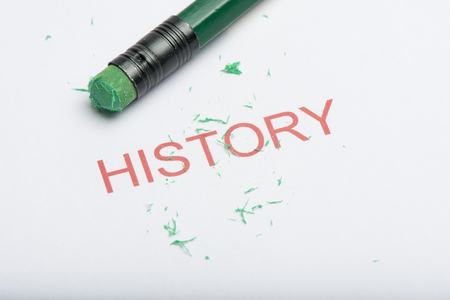 The word history on paper with worn pencil eraser and eraser shavings. Concept of forgetting or changing history or past, web browsing history.