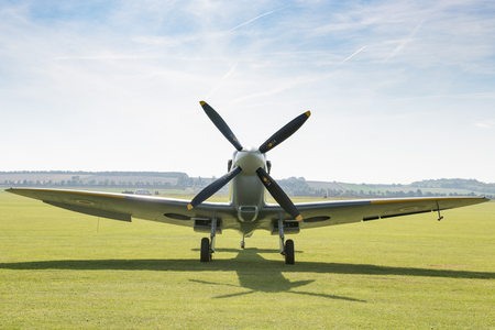 Front view of an RAF Spitfire fighter aircraft