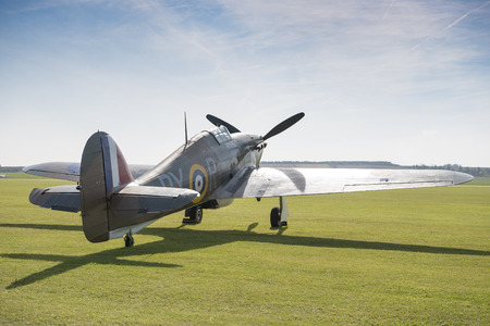 Angled rear view of a Supermarine Spitfire fighter plane